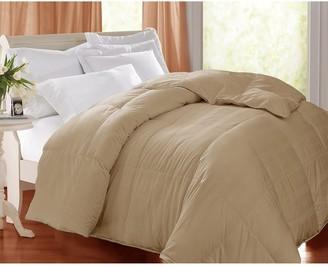 Blue Ridge Home Fashions 400 Thread Count Windowpane White Goose Down Comforter - Twin - Beige