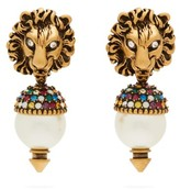 Gucci Crystal And Faux Pearl-embellished Drop Earrings - Womens - Gold