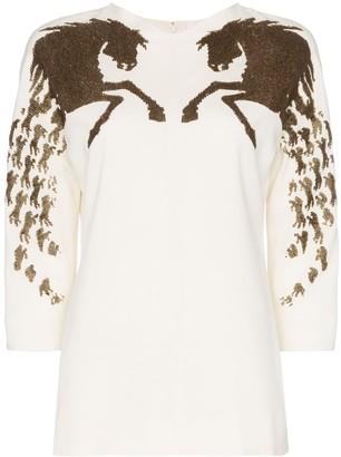 Chloé sequin embellished horse motif silk blend blouse