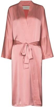 ASCENO Tied Waist Silk Robe