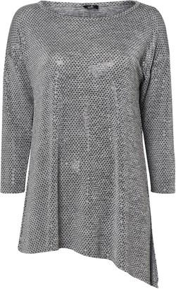 Wallis Grey Sequin Asymmetric Top