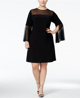 MSK Plus Size Bell-Sleeve Illusion Dress