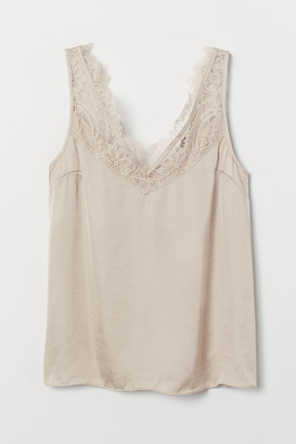 H&M Satin top with lace