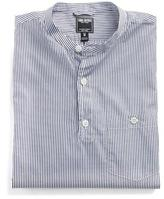 Todd Snyder Band Collar Popover Shirt in Navy Stripe
