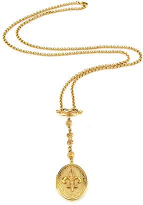 Ben-Amun Fleur-De-Lis Long Locket Necklace