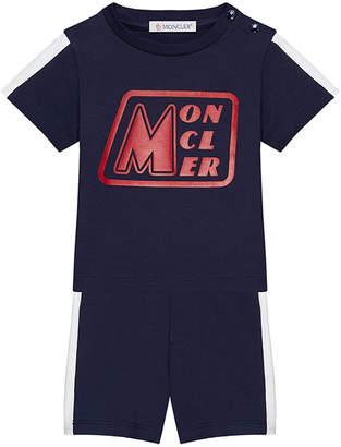 Moncler Jersey Stretch Logo Tee w/ Matching Shorts, Size 3M-3