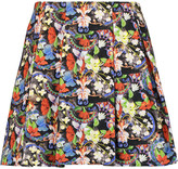 Alice + Olivia Parson pleated printed crepe mini skirt
