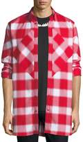 Givenchy Pieced Blurry Plaid Button-Front Shirt