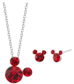 """Disney Fine Silver Plated Crystal Birthstone Mickey Mouse Earring and Necklace Set, 16""""+2"""" Extender"""