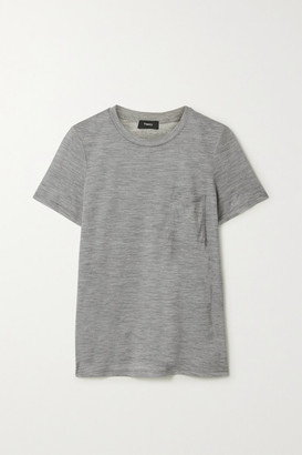 Theory Easy Pocket Melange Wool-jersey T-shirt - Gray