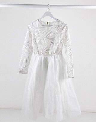 Rare London lace top long sleeve tulle midi dress in white