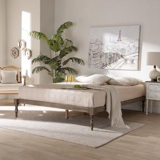 Baxton Studio Iseline Modern and Contemporary Antique Grey Finished Wood King Size Platform Bed Frame