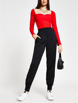 River Island Sweetheart Fitted Jersey Top - Red