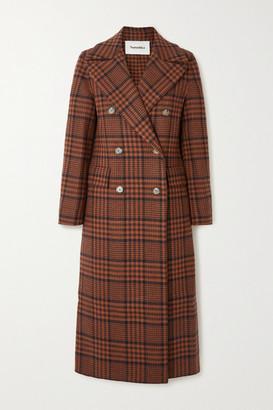 Nanushka Lana Double-breasted Checked Wool-blend Coat - Brown