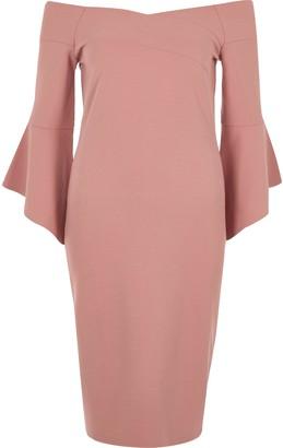 River Island Womens Pink bell sleeve bardot bodycon midi dress