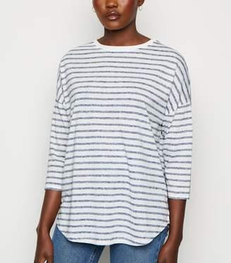 New Look Stripe 3/4 Sleeve Boxy T-Shirt