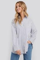 NA-KD Maxi Oversized Striped Shirt Blue
