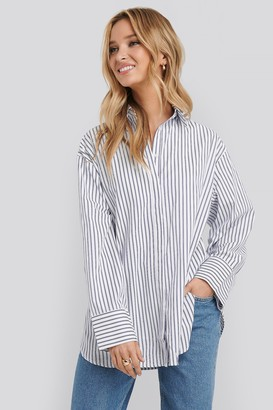 NA-KD Maxi Oversized Striped Shirt Blue