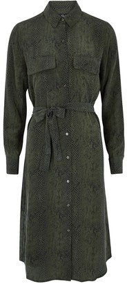Rails Alix dark green snake-print dress