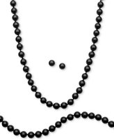 Sterling Silver Set, Onyx (8mm) Necklace, Bracelet and Stud Earrings