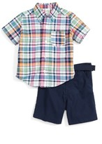 Little Me Infant Boy's Plaid Shirt & Woven Shorts Set