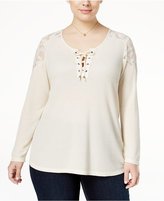 Style&Co. Style & Co. Plus Size Lace-Up Lace-Trim Top, Only at Macy's