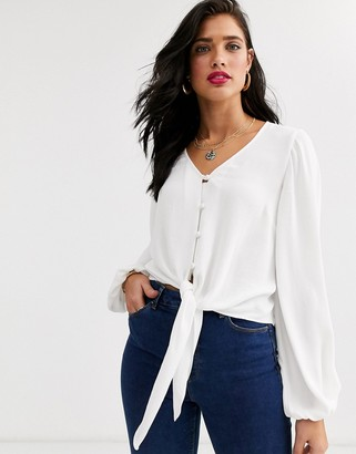 Asos Design DESIGN long sleeve button front top with tie detail-No Colour