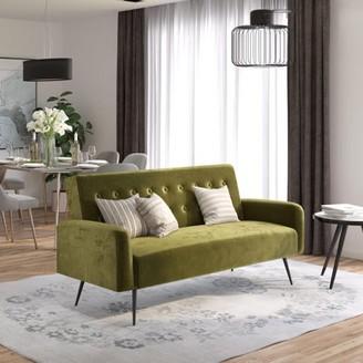 Z by Novogratz Stevie Futon, Convertible Sofa Bed & Couch, Green Velvet
