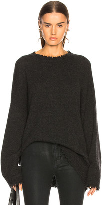 R 13 Boyfriend Cashmere Crewneck Sweater in Charcoal | FWRD