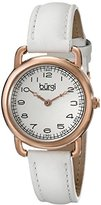 Burgi Women's BUR121WTR Classic Two-hand Rose Gold & White Leather Strap Watch