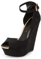 Kardashian Kollection black peep platform wedges