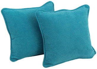 """Blazing Needles 18"""" Solid Microsuede Square Throw Pillow Inserts, Set of 2, Aqua Blue,"""