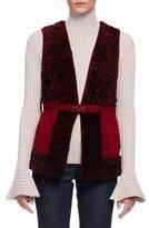Lanvin Two-Tone Shearling Fur Vest, Wine