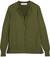 Marni Plissé-paneled Cotton-blend Cardigan - Green