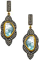 Socheec Two Tone Diamond Drop Earrings