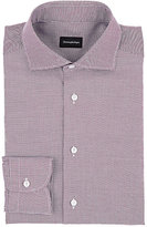 Ermenegildo Zegna Men's Rossini Cotton Dress Shirt-BURGUNDY, WHITE