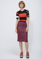 Proenza Schouler indigo / tomato leather lacing knit pencil skirt