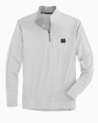 Southern Tide Notre Dame Fighting Irish Striped Quarter Zip Pullover