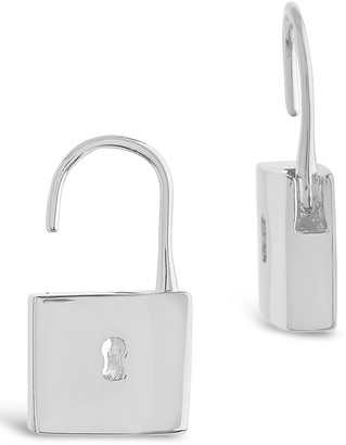 Sterling Forever Rhodium Plated Open Lock Drop Earrings