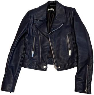 Balenciaga Navy Leather Jackets