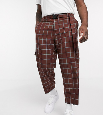 ASOS DESIGN Plus oversized tapered check smart trouser with cargo pockets and belt