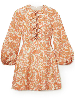 Zimmermann Peggy Tie-detailed Paisley-print Linen Mini Dress