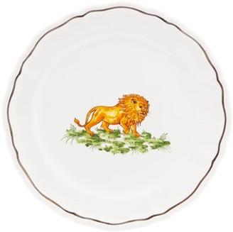 Zdg - Safari Hand-painted Faience-ceramic Side Plate - White Multi