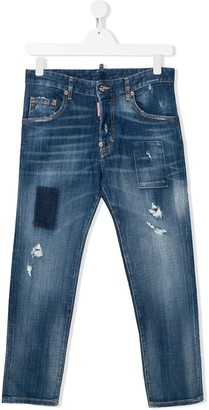 DSQUARED2 TEEN straight leg distressed jeans