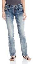 Vigoss Women's Chelsea Medium Wash Heavy Stitch Double V Embellished Back Pocket Jean