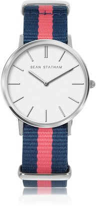 Stainless Steel Unisex Quartz Watch w/Blue and Pink Striped Canvas Band