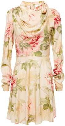 Zimmermann Tie-neck Draped Floral-print Stretch-silk Mini Dress