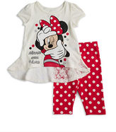 Nannette Girls 2-6x Lace-Trimmed Minnie Mouse Top and Polka Dot Leggings Set