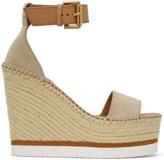 See by Chloe Beige Glyn Platform Sandals