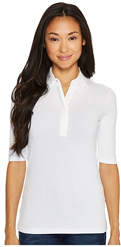 Lacoste 1/2 Sleeve Slim Fit Stretch Pique Polo (White) Women's Clothing